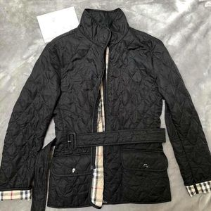 Burberry Quilted Belted Black Jacket -Small